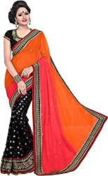 Trishulom Cloth's Online Women's Georgette Sarees With Blouse Piece (Orange)