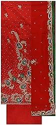 Gunjan Women's Cotton Silk Unstitched Salwar Suit (Reddish Orange)