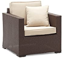 Big Sale Strathwood Griffen All-Weather Wicker Chair, Dark Brown