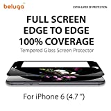 iPhone 6, 4.7 inch Only *New Full Screen Design* Covering Edge to Edge, 100% Screen Area Covered [Black Edge] Full Screen Tempered Glass Screen Protector by Beluga®, Apple iPhone 6 Premium HD Clear Ballistic Glass Screen Protector - Protect Your Screen from Scratches and Drops - Maximize Your Resale Value - 99.99% Clarity and Touchscreen Accuracy- 0.3mm - 2.5D Rounded Polished Edges [Black Edge]