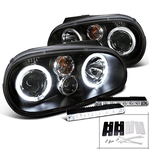 Vw Golf Mk4 Black Dual Halo Projector Headlight+Bumper Led Fog Lamp Drl