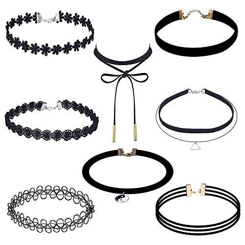 elegantes-rose-8-stuck-collier-halskette-set-gothic-tattoo-spitze-choker-ketten-stretch-samt-classic