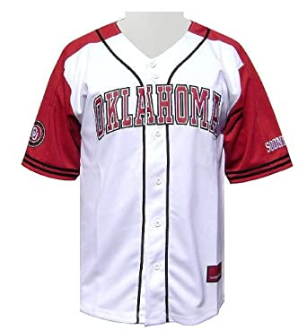 Colosseum Oklahoma Sooners Slugger Embroidered Baseball Jersey by GametimeUSA