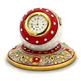Set of 2 Ethnic Treat 1 Clock , 1 Stand LxB: 4x3 White Table Clock