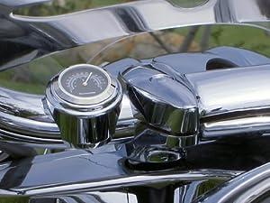 Motorcycle Handlebar Thermometer, BLACK Dial