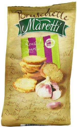 Maretti Bruschette Roasted Garlic Baked Bread Snack 70 g (Pack of 14)