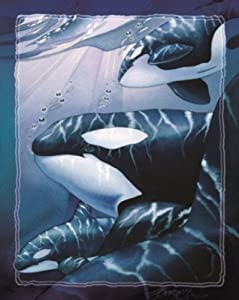 Whales Fish Killer Whale Water Fleece Fabric Panel #p1357s