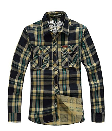 baishun-camisa-formal-para-hombre-plateado-army-green-plaid-small