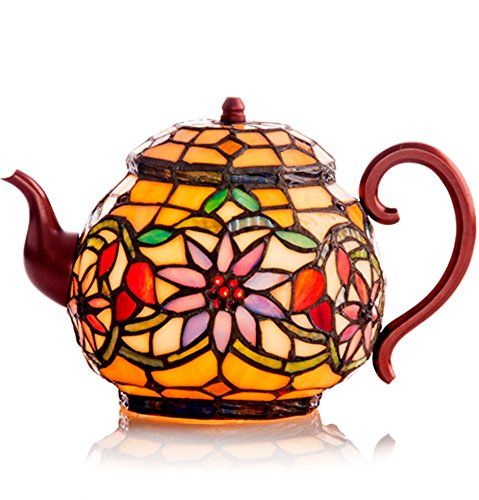 Stained Glass Teapot Accent Lamp Tiffany Style Tea Pot Kettle