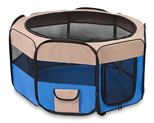 Internet's Best Soft Sided Pet Playpen | Small | Portable Puppy Pet Enclosure | Dog or Cat | Indoor Outdoor Mesh Kennel | Easy Travel | Folding and Collapsible Cage | Blue and Tan (Big Dog Kennel compare prices)