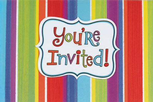 Amscan Invitations & Envelopes 50/Pkg Celebration Stripe