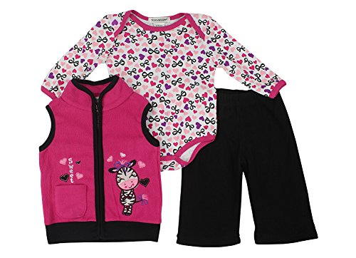 Alfa Global Baby-Girls Infant Three-Piece Micro-Fleece Set Hotpink 3-6 Months front-330976