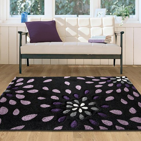 Contemporary High Quality Purple Petal Splash Rug - 110 cm x 160 cm (3'7