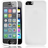 Fone-Stuff iPhone 5S 5 Case - Full Body Silicone Gel Skin Cover with See through Touchable Wallet flip Screen Protector (White)