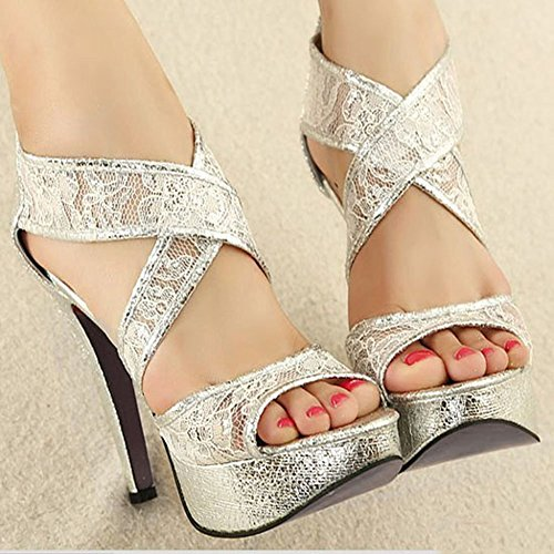 Getmorebeauty Women's Ankle Strappy Sandals Hollow Lace Flower Glitter Bridal Shoes 6 B(M) US