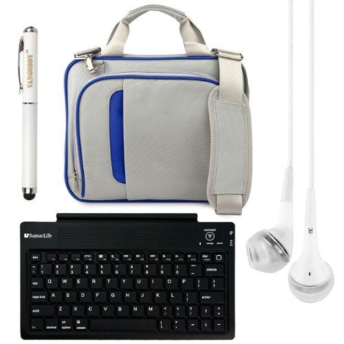 "Pinn Messenger Bag For Hannspree T7 Series 10.1"" Tablet + Bluetooth Keyboard + Vg Stylus Pen + White Vangoddy Headphones (Blue)"