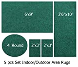 Indoor-Outdoor Pine, 5 Piece Set Patio Rug's, (6'x9', 2'6