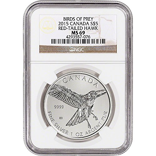 2015 CA Canada Silver Red-Tailed Hawk (1 oz) $5 MS69 NGC