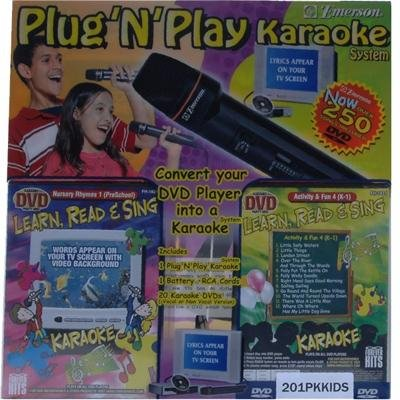 Emerson Plug And Play Karaoke System, Learn, Read And Sing Children'S, Over 250 Dvds