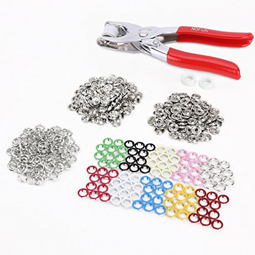Fantastic Deal! 100PCS Press On Claws Studs Snap Popper Fasteners 9.5mm 10 Colors + Pliers