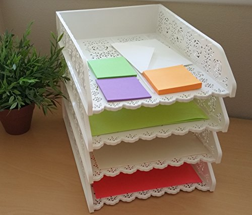4 PACK Stackable Letter Tray Desk Office File Document Paper