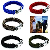 SAVFY Extra Beefy / Wide 500 lb Paracord Survival Bracelet With Stainless Steel U Anchor Shackle and Compass