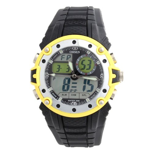 Ohsen Men Dial Silicone Band Quartz Unisex Sports Wrist Watch Yellow