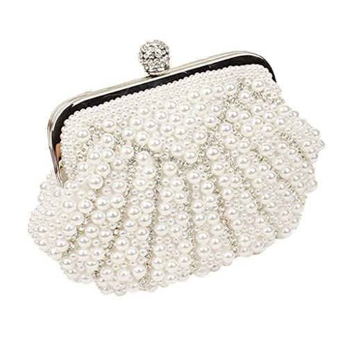 Women Satin Clutches Evening Bags Wedding Party Handbag Purses with Pearl Rhinestone White Black