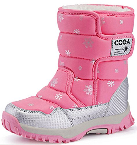 DADAWEN Kid's Boy's Girl's Frosty Winter Boot  Pink US Size
