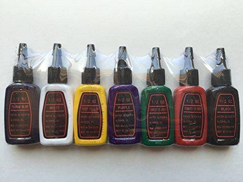 Premium tattoo ink set 7 color 1 2 oz 15ml each otw for Premium tattoo ink