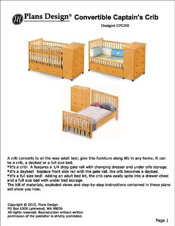 baby crib plans convertible captain 39 s crib changing