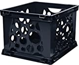 Storex Mini Crate, 9 x 7.75 x 6 Inches, Black, Case of 3 (STX61594U03C)