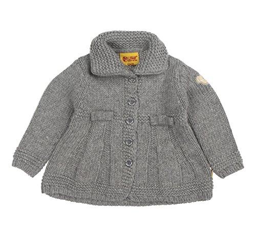 Steiff Baby - Mädchen (0-24 Monate) Strickjacke Strickmantel 1/1 Arm, Einfarbig, Gr. 110, Grau (mittelgrau gray 8241)
