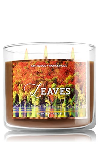 Bath & Body Works Leaves Scented Candle 14.5 Ounce 3 Wick Limited Edition Fall 2015 Candle Bath