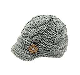 Bestknit Baby Boys Crochet Knit Newsboy cap Photography Brim Buttons Hat Large Grey