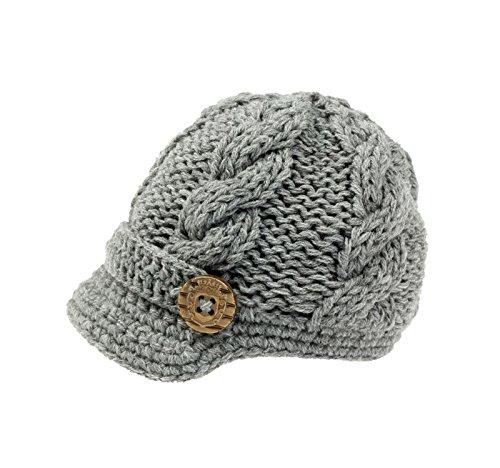 307fc3c3841 Bestknit Baby Boys Crochet Knit Newsboy cap Photography Brim Buttons Hat  X-Large Grey