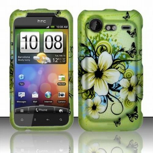 HTC Droid Incredible 2 Accessory - Blossoming Spring Flower & Butterflies Protective Hard Rubberized Case Cover Design for Verizon + Free Magic Soil Crystal Gift