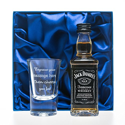 Cr8 A Gift discount duty free Personalised 1oz Shot Glass & Jack Daniels in Silk Gift Box For 18th/21st/30th/Birthday/Best Man/Usher/Wedding Gift