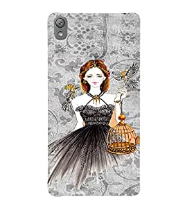 PrintVisa Fashion Tiger Girl Dress Design 3D Hard Polycarbonate Designer Back Case Cover for Sony Xperia E5