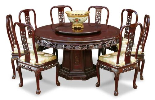 8 Chair Round Dining Table: 60″ Rosewood Round Dining Table With 8 Chairs
