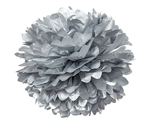 Luna Bazaar Tissue Paper Pom Pom (10-Inch, Silver) - For Baby Showers, Nurseries, and Parties - Hanging Paper Flower Decorations - 1