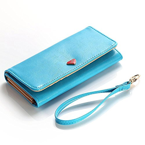 Cooper Cases(TM) Flirt Verykool Flint RS75 / Jasper s353 / Jasper II s352 Smartphone Wallet Case in Turquoise Blue (Detachable Lanyard Wrist Strap, Built-in Credit Card/ID Slots, Slip Pocket & Zipper Coin Purse)