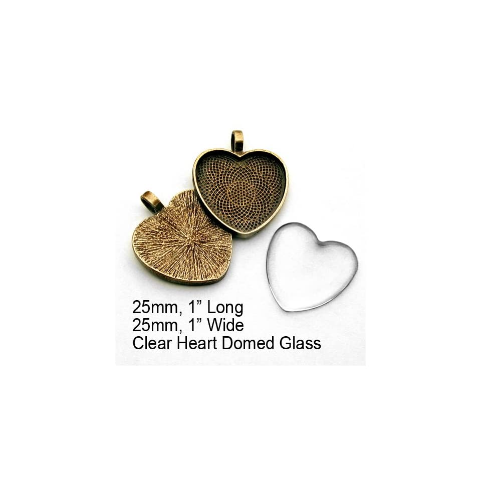 10 Spider Antique Gold plated Heart Bezel Pendant Trays with Textured Back. (Trays only   not sold with glass). 25mm Long x 25mm Wide. Great for making Glass Pendants. Can be used with Aanraku black Leather Cords. Spider Pendant Kit