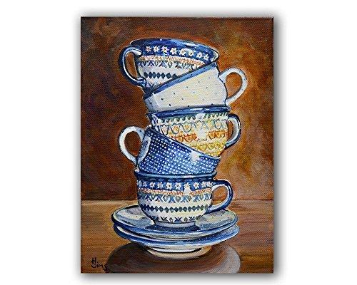 Stacked teacups Polish Pottery still life art print giclee, rustic kitchen decor, mat option