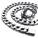 Mens Large Heavy 14mm Wide Stainless Steel Necklace Curb Chain Link Silver 24 Inch (with Gift Bag)