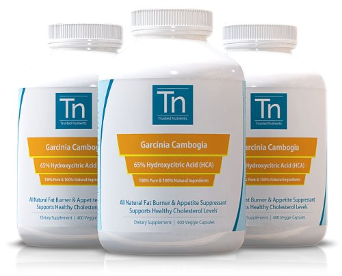 Trusted Nutrients 100% Pure 65% Hca Garcinia Cambogia Extract: 3X 400 Count - 1,000Mg Per Capsule