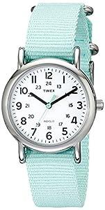 Timex Women's T2P0739J Weekender Sea Foam Green Slip Thru Nylon Strap Watch