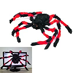 75cm Giant Hairy Spider Halloween Decoration Creepy Scary Prop Red
