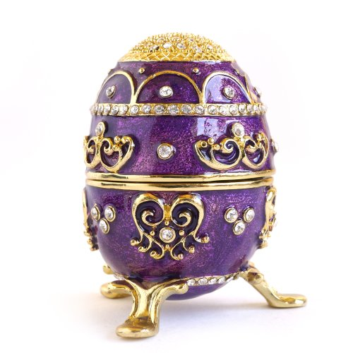 Hand- Painted Rich Purple Vintage Style Faberge Egg with Gold Finish, Rhinestones, Enamel Jewelry Trinket Box