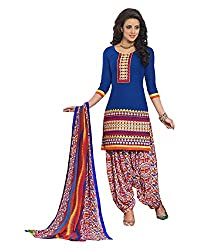 Ala4u Deep Blue printed Patiala style Unstiched Cotton Dress Material